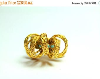 SUMMER SALE Large Vintage Very Unique Gold Metal Woven Wire Basket Weave 3D Adjustable  Statement Ring