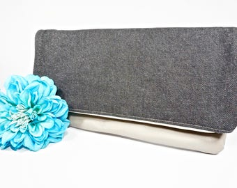 Fold Over Clutch | Dark Gray Denim Everyday Clutch | Wedding Clutch | Evening Clutch Purse | Leather Zipper Clutch | Bridesmaid Clutch