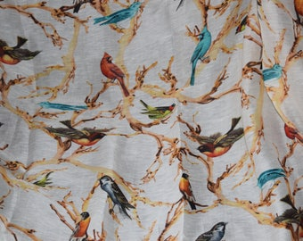 Birds Digital Print Silk Linen Fabric, 1 yard