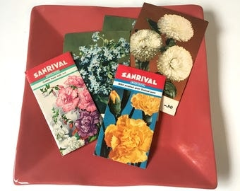 Flower seed packets - set of 5 vintage European packages - 1960s gardening ephemera