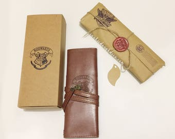 FREE P&P - Harry Potter inspired Faux Leather makeup brush roll + Gift Box (gift wrap paper option)