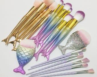 FREE SHIPPING  Unicorn Horn / Mermaid / Chunky Fish Makeup Brushes