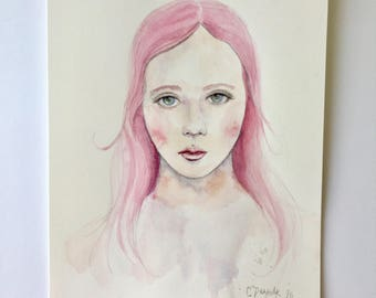 Original 8 in x 10 in Watercolor Portrait