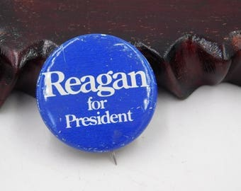 1980's Ronald Reagan For President Pinback Button   dr19