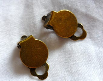 bronze clip earrings 1 pair