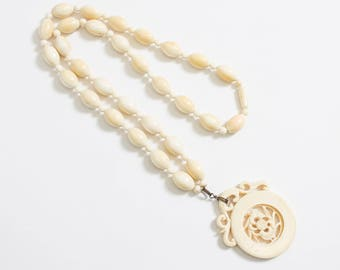 Vintage 1920s Necklace - Carved Celluloid Beaded Faux Ivory Asian Spinning Fish Flapper Jewelry