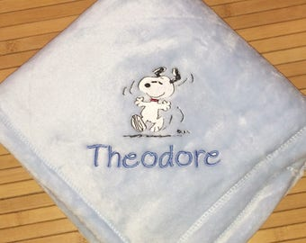 Personalized Dancing Snoopy Baby Blanket