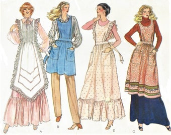 1970s Womens Long and Short Aprons Bib Aprons Prairie Style Aprons Vogue Sewing Pattern 7356 Size 16 18 Bust 38 40 FF Vintage Patterns
