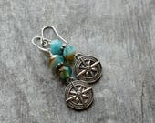 Compass earrings sky blue beaded earrings compass jewelry sand and sky gift for hiker outdoors nature lover beaded jewelry traveler beach