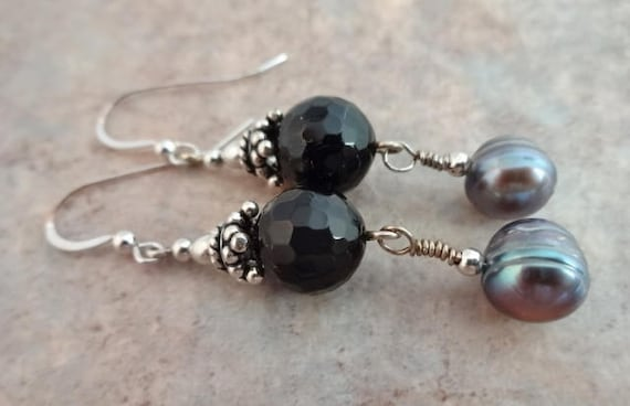 Black Onyx and Peacock Pearl Earrings