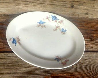 Vintage Blue Bird Platter White Ironstone Platter with Blue Birds and Blossoms Early 1900s Farmhouse Decor Cottage Chic