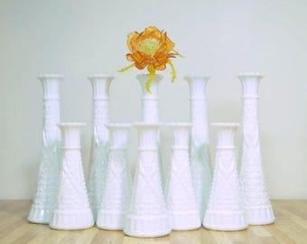 Vintage Milk Glass Vases: Set of 10, ALL the Same Design Pattern Wedding, Shower, Reception, Party