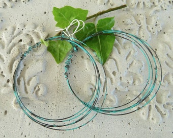 Large lightweight oxidized verdigris hoops