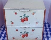 Vintage 1940s 1950s  Double Metal Red Apples Breadbox Pie Safe  / Farmhouse Kitchen