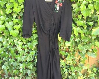 Vintage 1940s rayon sequin dress/ 40s crepe rayon/ small