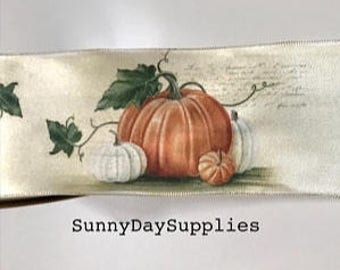 Pumpkin on Vine, Autumn Fall Ribbon, Satin style wired Pumpkin Ribbon, with Greenery, 2 YARDS, 2.5 inches Wide, Made in USA , soft wired,