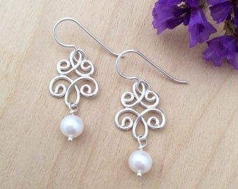 Sterling Silver Pearl Earrings, Bridal, Bridesmaid, Wedding Jewelry
