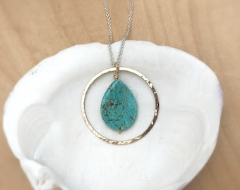 Hammered Gold Circle, 14k Gold Filled and Turquoise Howlite Pendant
