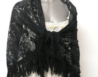 Vintage Black Lace Shawl Made in Japan #035