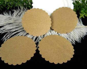 Circle Cards Tags / Large Gift Tags / Unique Escort Cards / Blank / Kraft Cardstock  Eco Friendly DIY Wedding /  Die Cut / No Hole Punch