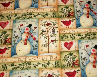 Susan Winget, Snowman Fabric, Christmas Fabric, By The Yard, Quilting Sewing Fabric, Snowmen Stitches Collection, Winter Fabric, Novelty