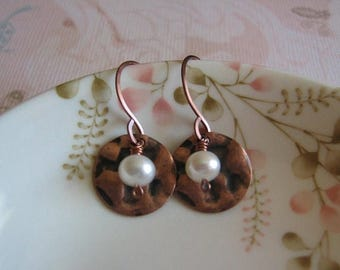 Clearance Pearls Earrings - Genuine Freshwater Pearl and Hammered Antiqued Silver Disk Earrings - Petite Vintage Timeless