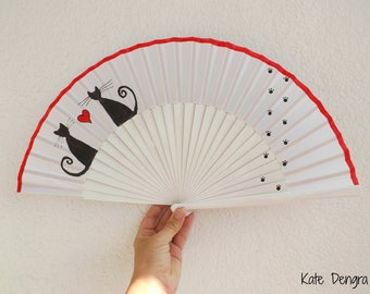 Love Cats 27cm Large Hand Painted Wooden Hand Held Fan Made to order by Kate Dengra Spain