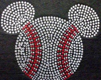 Mickey Head Baseball  Rhinestone Iron On Transfer