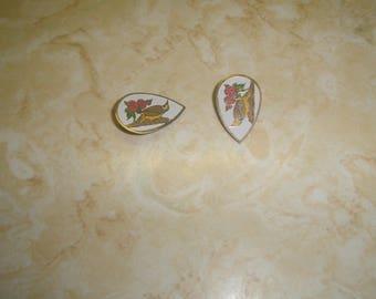 vintage clip on earrings goldtone white enamel bird flower cloisonne