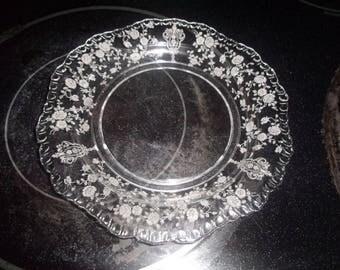 8 vintage cambridge rosepoint crystal salad plates