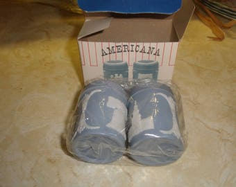 vintage pair salt pepper shakers blue plastic americana nib