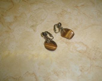vintage clip on earrings silvertone gemstone dangles