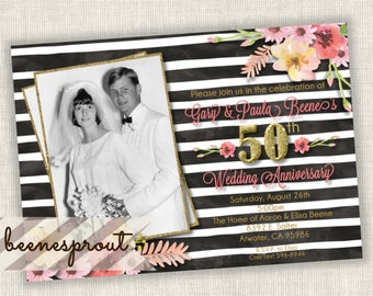 50th Wedding Anniversary watercolor flowers black and white stripes gold