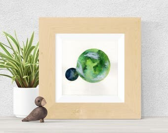 Original Watercolor Green and Blue Planet with Moon Clouds Painting Weather Art Astronomy Astrology Star Galaxy Art OOAK Limited Edition
