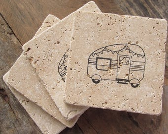 Natural stone coaster. Vintage Camper Coasters.  Set of Four Coasters. Gift.