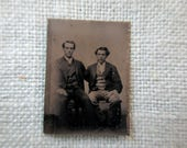 antique miniature gem tintype photo - 1800s, affectionate men