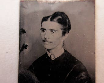 RARE antique miniature gem tintype photo - 1800s, man in drag? woman with mustache
