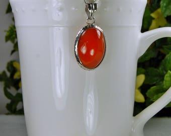 Carnelian Pendant, Sterling Silver, Translucent Glow, Tawny Orange Color, Natural Carnelian, Deep Orange Carnelian