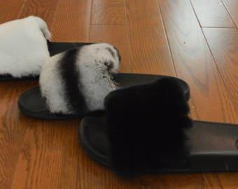 genuine Fur Slide Real Rex Rabbit Slides New