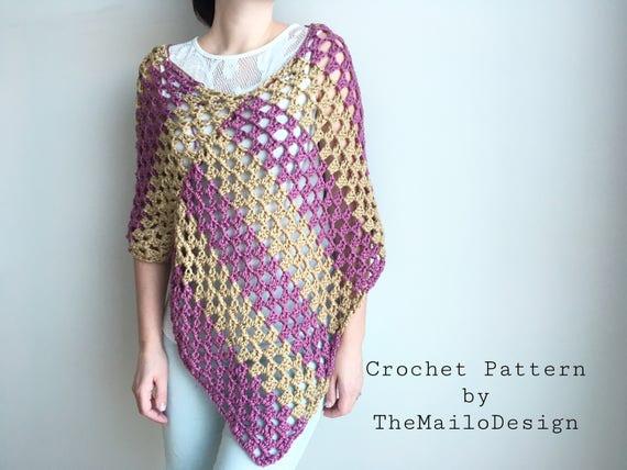 Easy Crochet Pattern Crochet Pattern Women Crochet Poncho