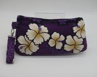 Purple Clutch, Hibiscus Wristlet, Hawaiian Purse, Purple Purse, Evening Bag, Floral Purse, Hawaii Handbag, Bridesmaid Gifts, Gifts for Her