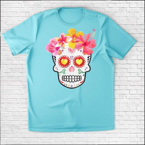 Hawaiian dia de las muertos halloween sugar skull women 39 s for Hawaiian graphic t shirts