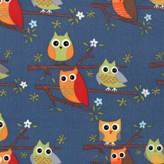 Jenn ski fabric kids novelty fabric navy owls ten little for Kids novelty fabric