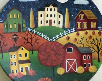 Halloween Folk Art Hand Painted Plate,  Fall Landscape, Saltbox Houses, Red Barn, Sheep, Cart Filled With Pumpkins, Farmhouse, MADE TO ORDER