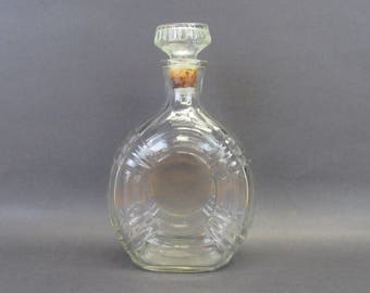 Vintage Small Round Pressed Glass Decanter with Cork Stopper (E9731)