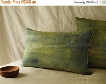"""ON SALE Landscape lawn green pillow. Bring nature in linen oblong pillowcase. 14""""x 22"""" ... Seen from train  /  FRAGMENTS"""
