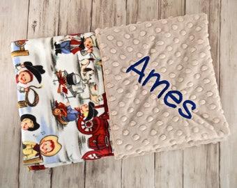 Monogrammed Baby Blanket, Minky Buckaroo Cowboy Print, Tan Taupe, Blue, Red, Beige Personalized Blanket with name, Newborn, Retro Western