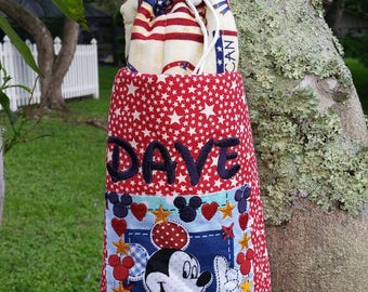 Large Water Bottle Carrier USA Disney Themed Monogrammed or Personalized