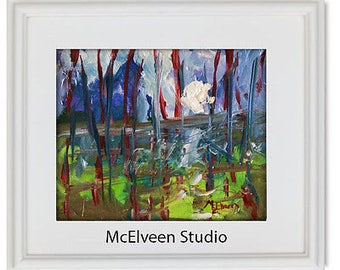 Claire McElveen Original Plein Air Small Landscape Oil Painting Swamp Bayou Wetlands Art