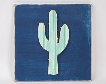 Cactus, Wooden Wall Art, Distressed Southwestern Wall Art